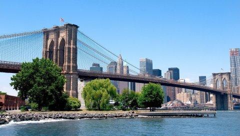 Нью-Йорк, город, дома, небоскребы, мост