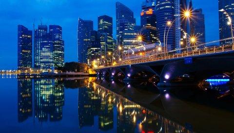 Мост, река, море, здания, ночь, городские огни, отражение, небоскреб