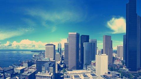 Здание, небоскребы, свет, небо, мегаполис