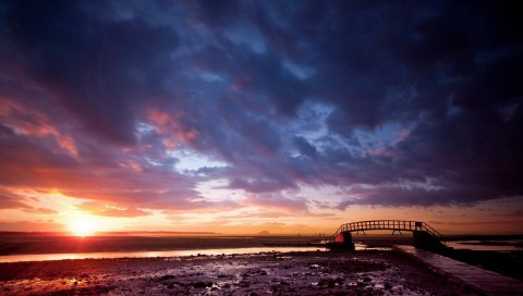 Мост, камни, пересечение, солнце, облака, пустота
