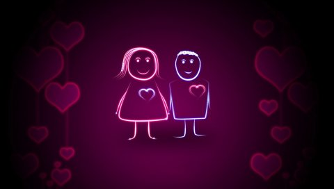 Пара, сердце, свет, фон