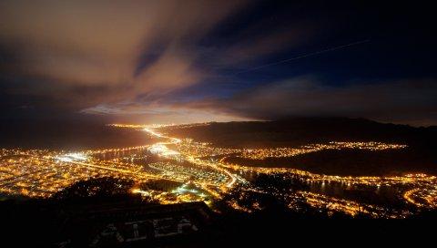Город, ночь, огни, вид сверху, небо