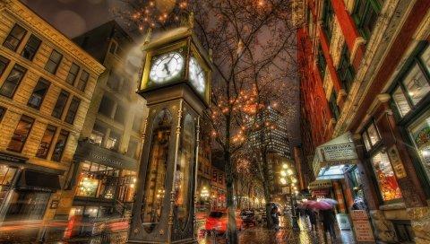 Город, улица, ночь, часы, прогулка, hdr