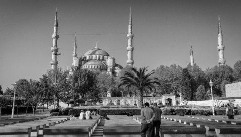 Турция, Стамбул, здание, черный белый, люди, архитектура