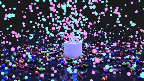 Взрыв, краска, воздушные шары, полет