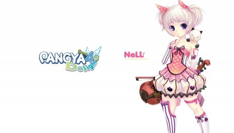 Pangya, девушка, платье, скрипка, кошка