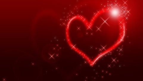 Сердце, линия, форма, свет, фон, яркий, красочный