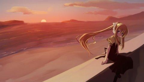 Девушка, блондинка, природа, ветер