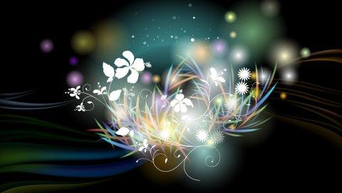 Абстракция, цвет, узор, свет, блики