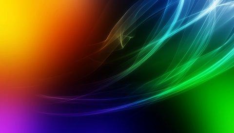 Дым, линии, пятна, свет, цвет