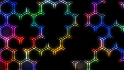 Сетка, свет, красочный, яркий, фон