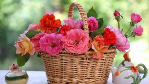 Розы, цветы, корзина, стол, размытие, фарфор