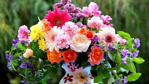 Розы, герберы, гвоздики, цветы, букет, микс, кувшин