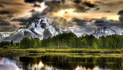 Озеро, гора, деревья, молодой рост, небо, hdr