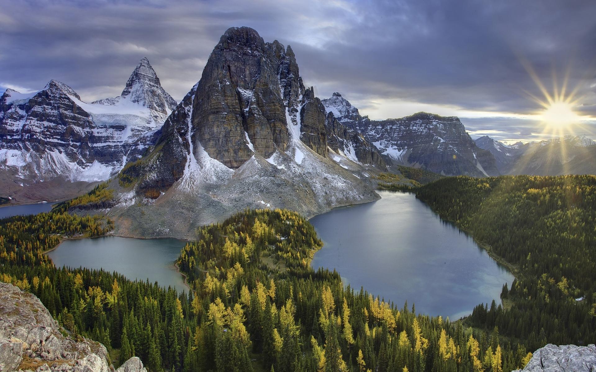 Картинки Горы, озера, солнце, закат, пейзаж, рельеф фото и обои на рабочий стол