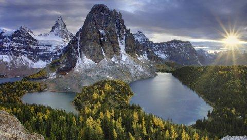 Горы, озера, солнце, закат, пейзаж, рельеф