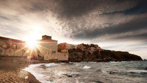 Волны, конструкции, солнце, свет, дом, побережье