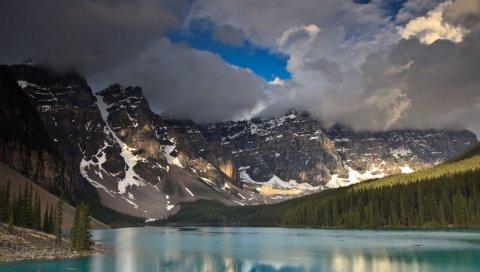 Горы, облака, Канада, озеро