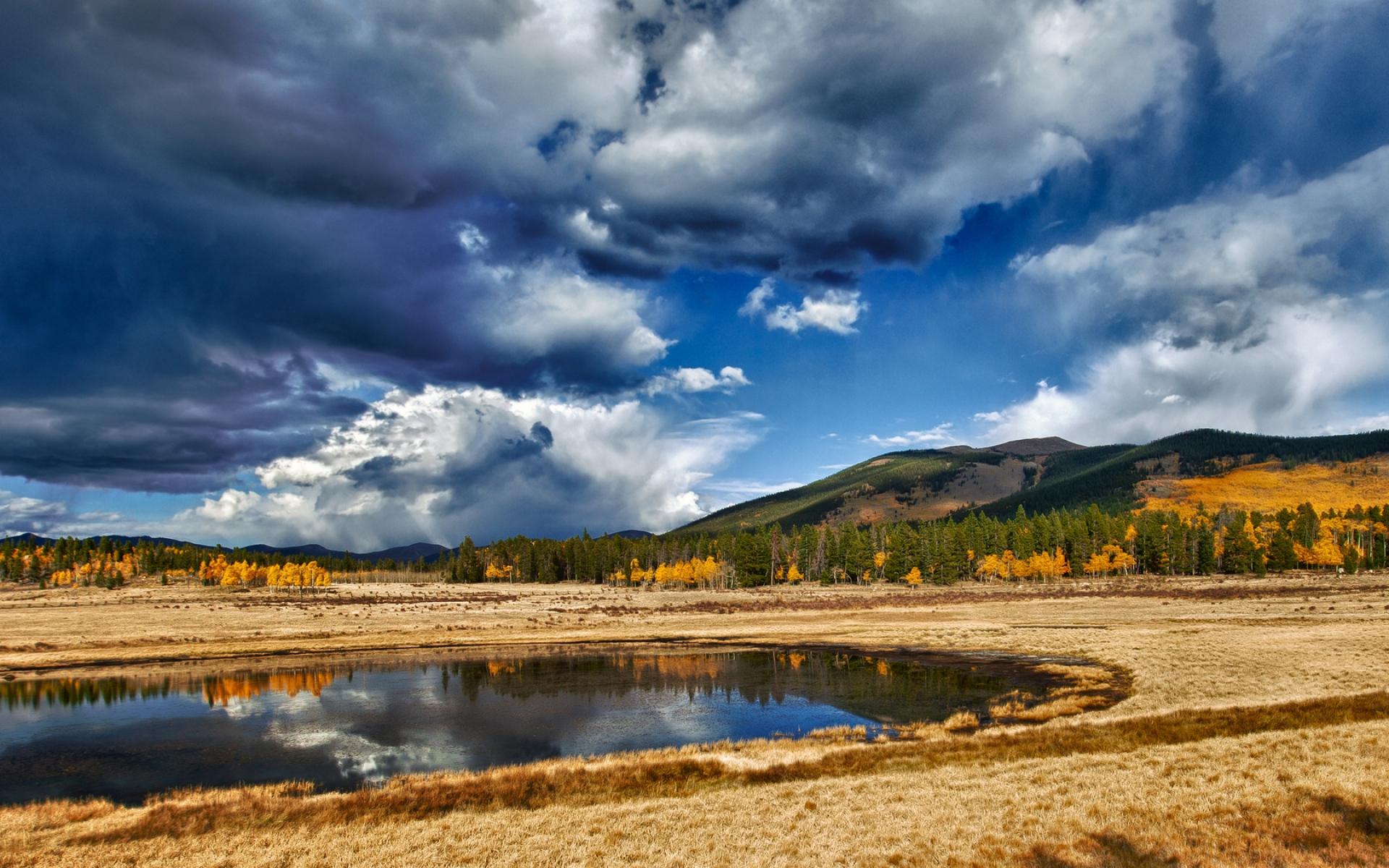 Картинки Пейзаж, поле, тень, горы, облака, тяжелый, небо, облачно фото и обои на рабочий стол