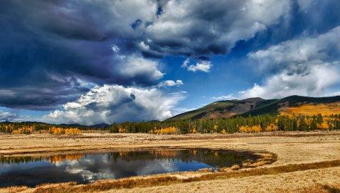 Пейзаж, поле, тень, горы, облака, тяжелый, небо, облачно