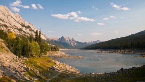 Озеро, горы, камни, пейзаж