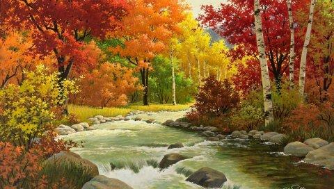 Осень, пейзаж, живопись, река, лес