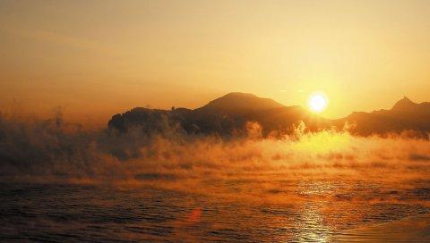 Вода, туман, утро, испарение, восход, рассвет