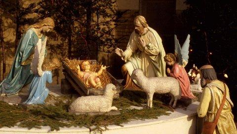 Рождество, праздник, Иисус, ясли, овец, игла, люди, ангелы, статуэтки
