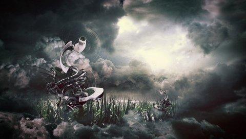 Облака, небо, аннотация, форма, вихрь, трава, иллюзия, воображение