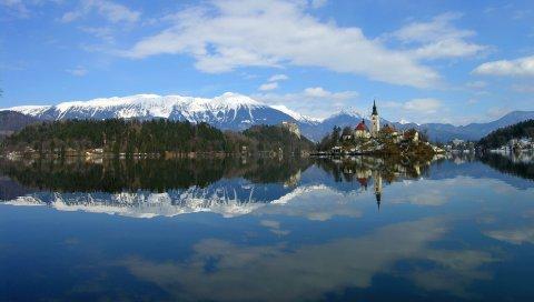 Озеро, отражение, побережье, словия, сооружения