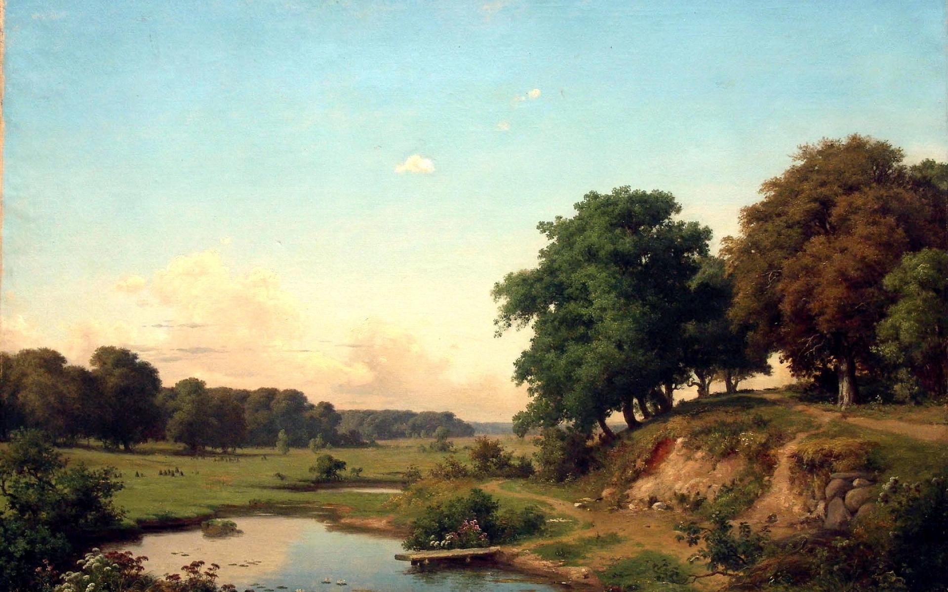 Картинки Пейзаж, искусство, деревья, лето, небо фото и обои на рабочий стол