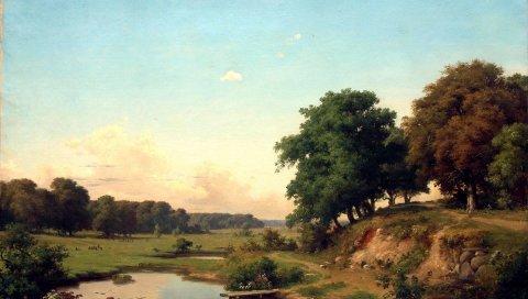 Пейзаж, искусство, деревья, лето, небо