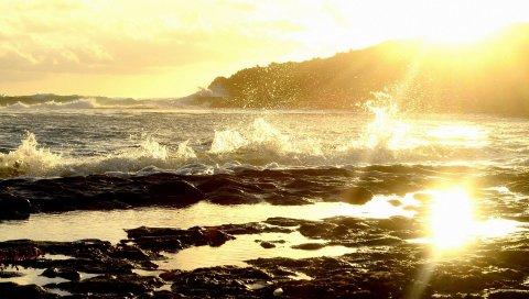 Море, брызги, волны, берег, каменистый, солнце, свет