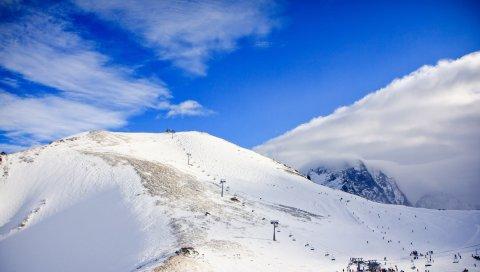 Подъем, горы, Кавказ, снег, домбай