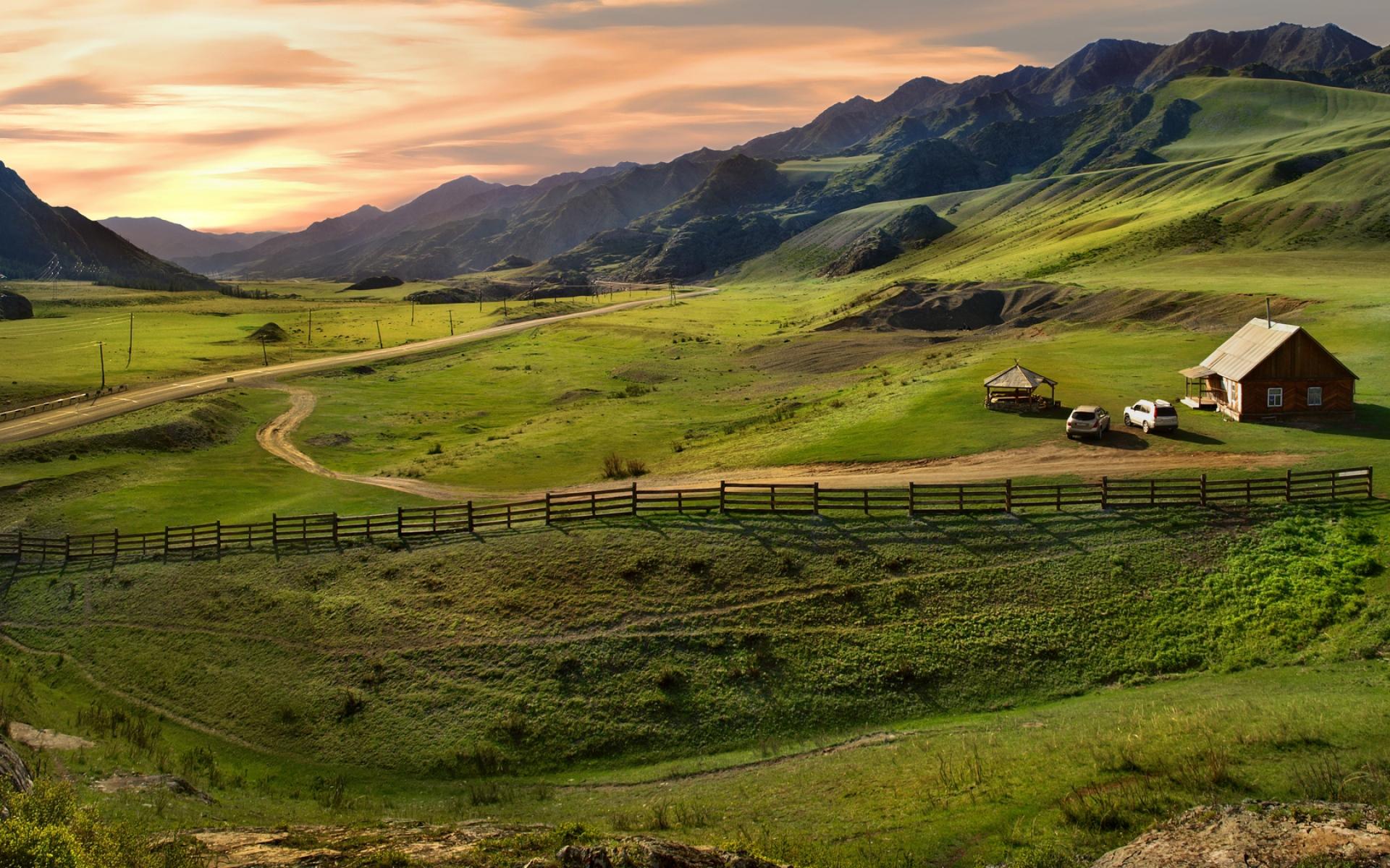 Картинки Алтай, горы, равнина, охрана, дом, автомобиль фото и обои на рабочий стол