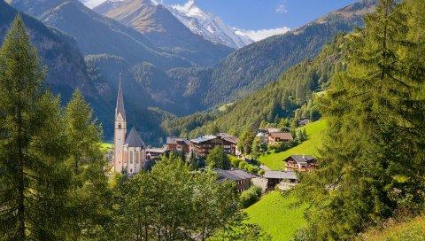 Австрия, лето, деревня, низменность, дома, сооружения, лес