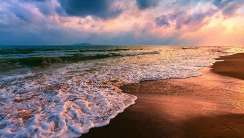 Песок, мокрый, волны, море, пляж, облачно, защищенный
