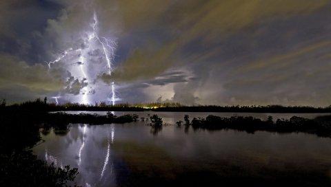 Молния, категория, удар, элементы, озеро, облака, контуры