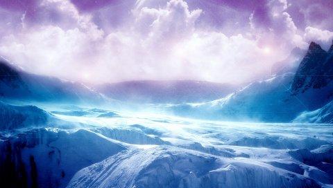 Пейзаж, горы, снег, зима, цвета, облака