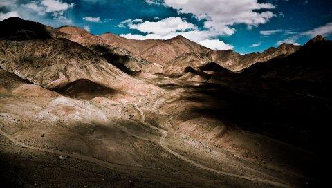 Дорога, горы, тени, высота
