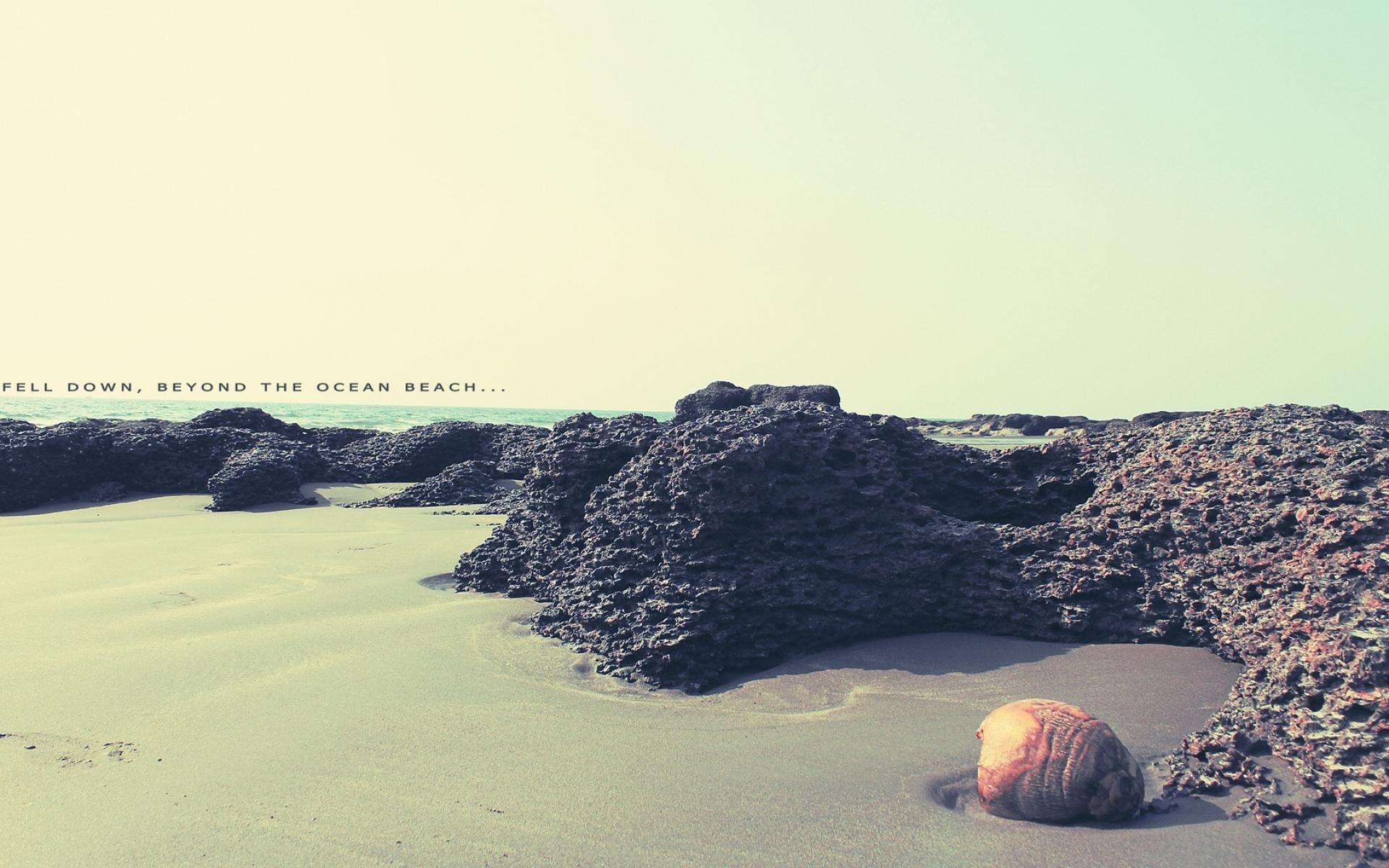 Картинки Пляж, песок, рифы, океан, раковина, надпись, цвета фото и обои на рабочий стол