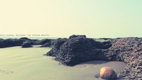 Пляж, песок, рифы, океан, раковина, надпись, цвета