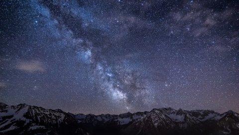 Млечный путь, звезды, горы, ночь, Германия, Бавария, небо