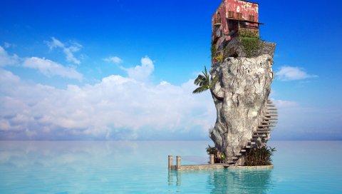 Камень, дом, лестница, пальма, море, голубая вода