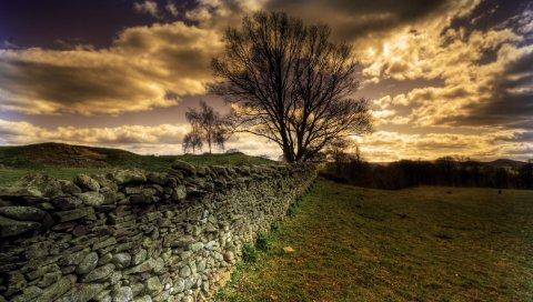 Забор, защита, камни, граница, облака, тени