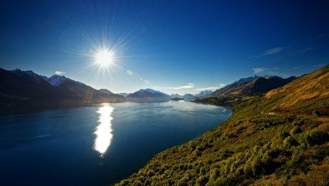 Солнце, свет, день, озеро, новая зеландия