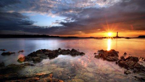 Море, камни, вода, прозрачный, закат, вечер, небо, маяк