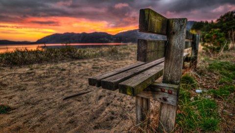 Скамейка, песок, вечер, романтизм, закат, озеро, трава, ногти