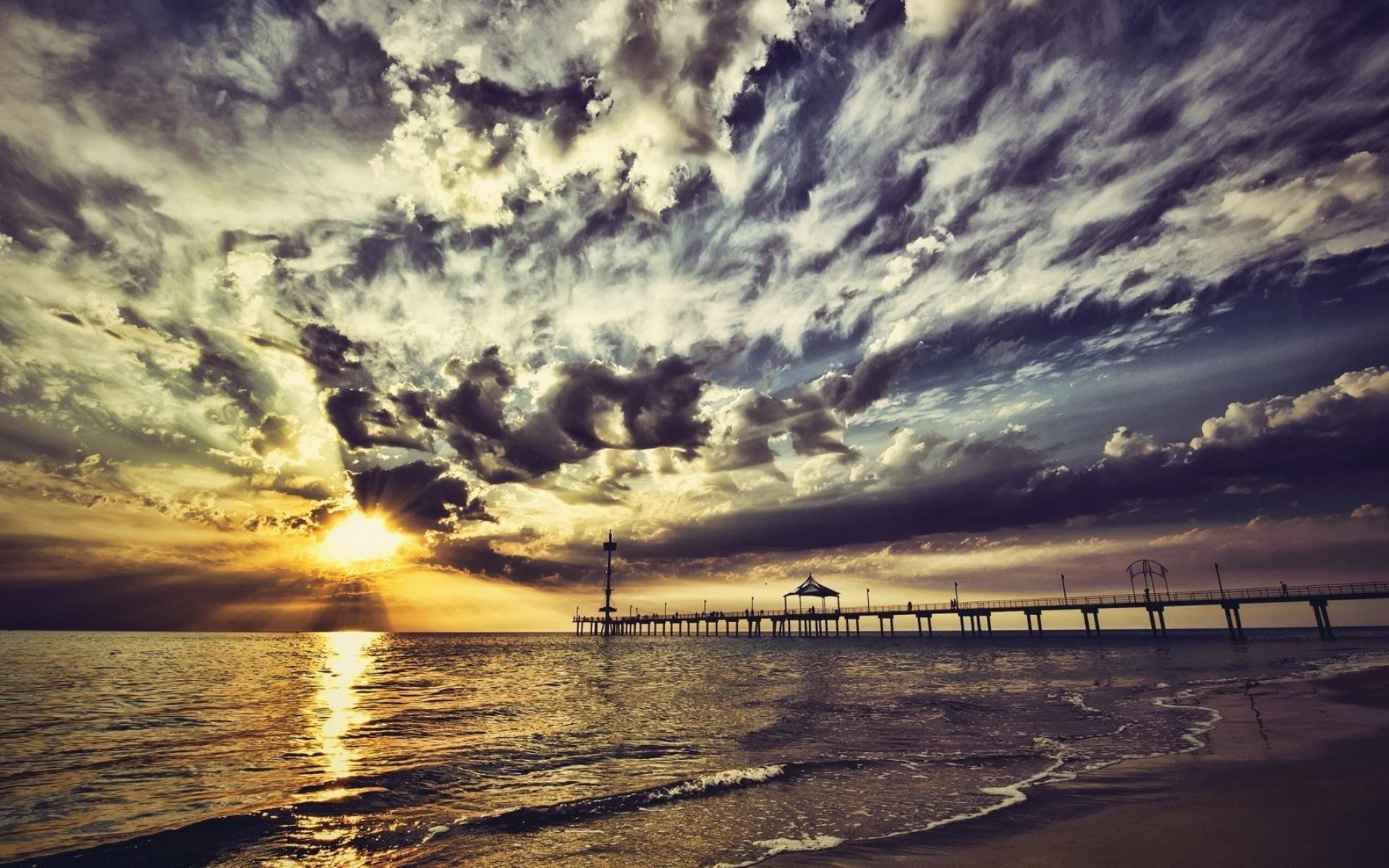 Картинки Пирс, небо, облака, цвета, краски, побережье, вечер фото и обои на рабочий стол