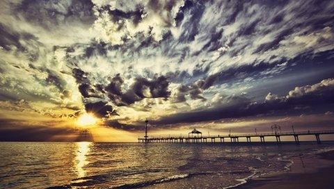 Пирс, небо, облака, цвета, краски, побережье, вечер